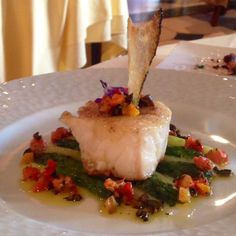 Fish on asparagus with lovely bits of bacon.                                                                Chaine D'Or, Les Anderly, Normandy, France.