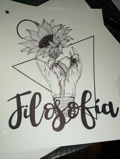 #arte #caratulas #dibujo #filosofia #girasol Notebook Art, Notebook Covers, Journal Covers, Bullet Journal Notes, Bullet Journal School, School Notebooks, Pretty Notes, Lettering Tutorial, Decorate Notebook