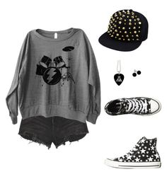 """Bang The Doldrums"" by headfullofhoticecubes ❤ liked on Polyvore featuring Ksubi, Converse, Bridge Jewelry and falloutboy"