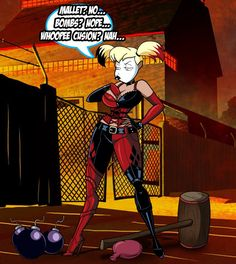 Hey guys, Commission done for who wanted Harley Quinn in her Arkham City Outfit and Batman TAS style while trying to dig up a weapon to finish off Batman but she's being a bit picky on that lol. It...