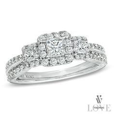 Vera Wang LOVE Collection 1 CT. T.W. Princess-Cut Diamond Three Stone Engagement Ring in 14K White Gold - Zales