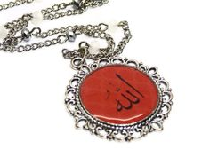 Silver Filigree Allah Pendant Necklace with red design and glass crystals by AlSafinaShop on Etsy https://www.etsy.com/listing/104748168/silver-filigree-allah-pendant-necklace
