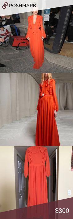 Orange Ruffle Dress as seen on Selena Gomez Brand new ! Size Small . Very gorgeous:) giambattista style , as seen on Selena Gomez . Dresses Maxi