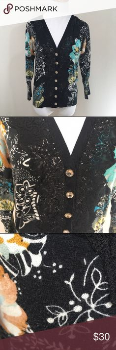 Charlotte Tarantola Anthropologie Cardigan Large Charlotte Tarantola Anthropologie Floral Paisley Lace Cardigan Sweater Large. Great condition. Normal wash and wear. Clean and comes from smoke free home. Questions welcomed! Anthropologie Sweaters Cardigans
