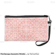 Pink Baroque Geometric Wristlet Bag