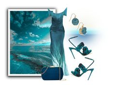 """""""Teal Sunset"""" by sjlew ❤ liked on Polyvore featuring Marco de Vincenzo, On Aura Tout Vu, Natasha Accessories and INC International Concepts"""