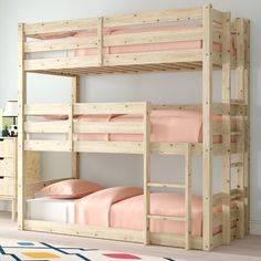 Just Kids This bunk bed is manufactured in England. It's made from solid Scandinavian pine with a natural pine finish and will look stylish in any bedroom. Handcrafted and created with simplicity and versatility in mind, making it perfect for a wider range of interior styles. Size: Single (3')