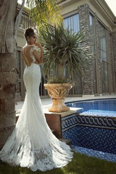 Galia Lahav 2013 Empress Wedding Dress Collection - From her precious lace sleeves and illusion back design to her ethereal lace skirt and train, Isabella is a @Galia Lahav masterpiece   Confetti Daydreams ♥  ♥  ♥ LIKE US ON FB: www.facebook.com/confettidaydreams  ♥  ♥  ♥ #Wedding #WeddingDress #WeddingGown