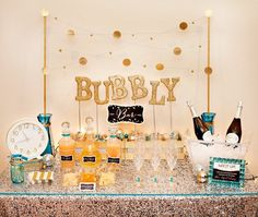 new years eve party ideas board sweet and sparkly gold glitter bubbly bar shared by hostess with the mostess new years