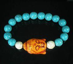 Howlite Turquoise Orange Buddha Head Blue White Ball Beads Stretch Bracelet