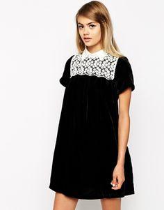 Little White Lies Velvet Smock Dress With Lace Bib