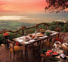 a sunset dinner in tanzania