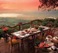 a sunset dinner in tanzania
