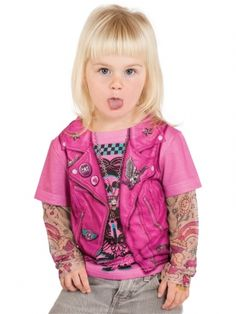 Toddler's Biker Girl Tattoo Long Sleeve Tee (Pink) #inkedshop #bikergirl #tattoo #faketats #coolkids