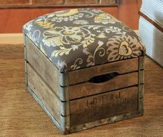 DIY Seating Ideas - This Rustic Milk Crate Ottoman is So Stylish & Easy to Make! - Creative Indoor Furniture, Chairs and Easy Seat Projects for Living Room, Bedroom, Dorm and Kids Room. Cheap Projects for those On A Budget. Tutorials for Cushions, No Sew Covers and Benches http://diyjoy.com/diy-seating-chairs-ideas