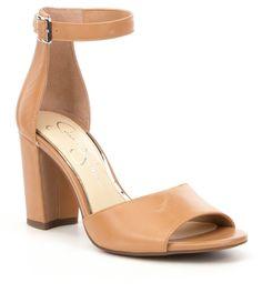 ec17df1fb94 Jessica Simpson Sherron Leather Ankle Strap Block Heel Sandals. Dillard s