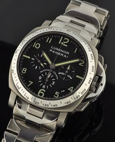 Luminor Panerai PAM 72 D chronograph.  Very, very cool watch.  A ltd. edition of only 1500, this one is apparently priced competitively at a paltry six thousand five hundred dollars.  Actually, that's probably a good deal.
