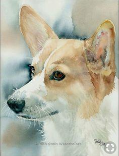 Corgi Portrait Watercolor Print by Art Aquarelle, Art Watercolor, Watercolor Animals, Watercolor Portraits, Animal Paintings, Animal Drawings, Corgi Drawing, Corgi Pictures, Guache