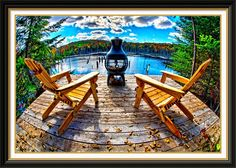 Framed Wall Decor Adirondack Chairs On Deck Panoramic Image