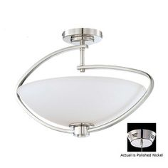 18-in W Polished Nickel Semi-Flush Mount Ceiling Light