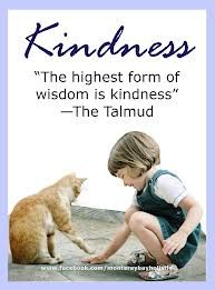 The highest form of wisdom is kindness. - The Talmud
