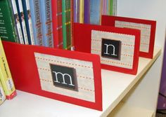 Alphabetical library guides ~ Here's another project I need to add to my to-do list.  (Maybe a good one for willing parent volunteers?)