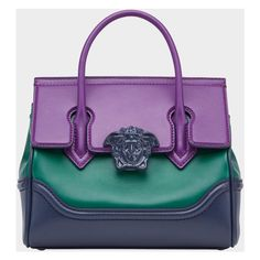 Palazzo Empire Medium Bag ❤ liked on Polyvore featuring bags, handbags, shoulder bags, purple handbags, versace purses, versace handbags, top handle purse and purple shoulder bag