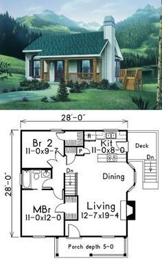 - make utility room where stairwell is & Wa La, it's 1 floor :: 796 sq.- make utility room where stairwell is & Wa La, it's 1 floor! Cottage Style House Plans, Tiny House Cabin, Country House Plans, Tiny House Design, Cottage Homes, Guest Cottage Plans, Two Bedroom Tiny House, 1 Bedroom House Plans, Design Homes