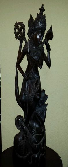 Exquisite Vintage Ebony Asian Buddhist or Hindu Goddess with Dragon Statue   eBay