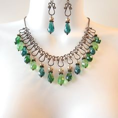 Love, Love, Love this color combination! Wire Work Bib Necklace  - Green Teardrop Crystals - Champagne Glass Pearls - Bronze Wirework - Emerald - Lime Green - Teal