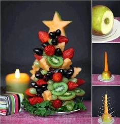 Xmas fruit tree - too bad most fruit isn't in season at Xmas time though. Food fruit Christmas decorations display clever ideas table centerpiece