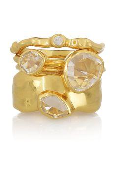 Monica Vinader | Set of 4 18-karat gold-vermeil stacking rings | NET-A-PORTER.COM