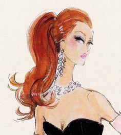 Барби Barbie Illustration by Robert Best Moda Fashion, Fashion Dolls, Fashion Art, Fashion Design, Fashion Trends, Redhead Art, Corte Y Color, Fashion Sketches, Fashion Illustrations
