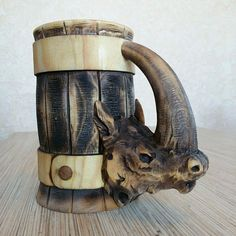 Rhinoceros now live in Siberia! if you want one like this please contact us #stein #beerstein #beer #tankard #beermug #handmadeisbetter #handmade #carvedwood #carved #wooden #beer #beermug #handmadewithlove #shophandmade #supporthandmade