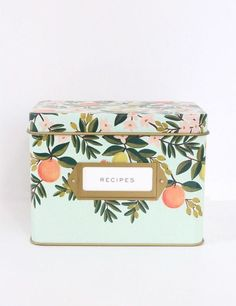 Grand Dame Recipe Tin (Citrus Floral)- Anna Bond is the whimsical whirlwind behind Rifle Paper Co. Wm Logo, Cuadros Diy, Recipe Tin, All I Ever Wanted, Southern Weddings, Rifle Paper Co, Tin Boxes, Recipe Cards, Decoration