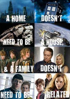 Hogwarts Castle, TARDIS, Millennium Falcon, Serenity, Hobbits from LOTR, Battlestar Galactica, Star Trek (2009), Harry Potter  https://sphotos-a-lga.xx.fbcdn.net/hphotos-ash3/q71/s720x720/1148825_637515186281388_2138592564_n.jpg