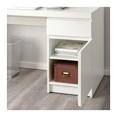 IKEA - MALM, Desk, black-brown, , You can collect cables and extension leads on the shelf under the table top, so they're hidden but still close at hand.Can be placed in the middle of a room because the back is finished.You can mount the storage unit to the right or left, according to your space or preference.