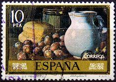 Spain.  STILL LIFE BY L.E. MENENDEZ.  FIGS, BREAD & JUG.  Scott 2005 A501, Issued 1976 Sept 29, Photo., Perf. 13, 10. /ldb.