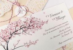 Convite de casamento com lindas cerejeiras. #casamento #wedding