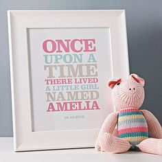 Personalised 'Once Upon A Time' Print - new baby keepsakes Little Girl Names, Little Girl Rooms, Little Girls, My Baby Girl, Baby Love, Dream Baby, Girl Nursery, Nursery Art, Nursery Decor