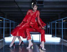 Minna Parikka Joan Red Leather, Leather Jacket, Occult, Heels, Jackets, Women, Fashion, Studded Leather Jacket, Moda
