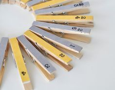 Yellow and Grey Numbered Pegs, Ready to Hang