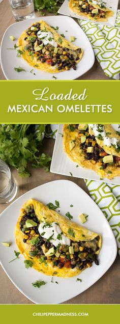Loaded Mexican Omelettes – A quick breakfast omelette recipe stuffed full with some of your favorite Mexican ingredients, including black beans, corn, jalapeno peppers, avocado, tomato, and plenty of melty cheese, then topped with crema.