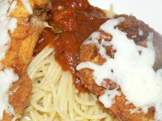 Italian Fried Chicken Dinner--this is really, really good.  Crisp fried chicken breasts with Italian seasoning, spaghetti and semi-homemade sauce.  What's not to love?  Try it.  You'll love it too and it's only $1.10 a serving!