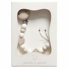 Pasito a Pasito Beige Wooden Beads & Hearts Dummy Clip in a Box (24cm) at Childrensalon.com
