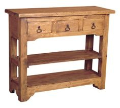Rustic Pine Side Table- 3 Drawers
