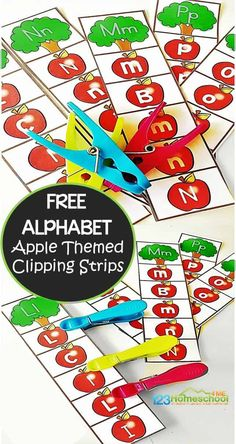 Online homeschool math FREE Apple Alphabet Clip Cards for preschool, prek, kindergarten age kids to practice their letters with a fun fall activity Preschool Apple Theme, Fall Preschool, Preschool Curriculum, Preschool Activities, Kindergarten Age, Homeschooling, Apple Activities Kindergarten, Letter Recognition Kindergarten, Preschool Apples