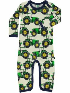 Smafolk Wool one-piece, tractor print<br>Size 3-18M