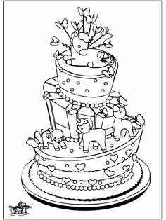 * Feesttaart Coloring Pages For Kids, Adult Coloring, Free Printable Coloring Pages, Colored Paper, Business For Kids, Colouring Pages, Rug Making, Cross Stitch Embroidery, Line Art