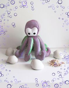 Stuffed Animals-This funny little octopus makes a perfect gift for a kid or an original decoration for a beach house. It can stand on its tentacles or lie flat on a bed or shelf. – Polp-Polp the Octopus – a unique product by pupazzidigioia via en.dawanda.com